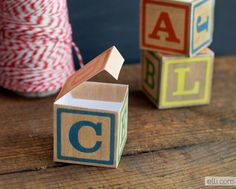 free printable DIY Alphabet Block Favor Boxes...perfect for a baby shower, ABC party, or kids room decor. {Ellinee}