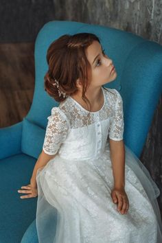 First communion Girl Dress Ivory Girl Dress Long sleeves Girl Dress Lace Girl Dress Birthday Wedding Party Holiday Bridesmaid Flower Girl, Girls First Communion Dresses, Holy Communion Dresses, Baptism Dress, Birthday Dresses, First Communion Hair, Girls Lace Dress, Little Girl Dresses, Girls Dresses, Flower Girl Dresses