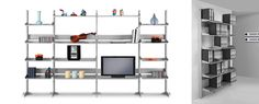 TOTEM Modular Shelving SystemFree standing single sided modular shelving unit with three shelves and storage cabinet. Shelves can be positioned angled or horizontally. Modular Shelving, Storage Shelves, Shelf Design, Minimalism, Bookcase, Furniture Design, Cabinet, Interior, Modern