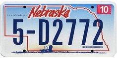 This is the official license plate for the state of Nebraska as it has been officially adopted by the state legislature. Also known as a vehicle registration plate, it is used to identify the car and owner of a motor vehicle or trailer in the state.