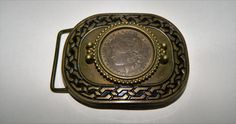 Vtg '78 BBB Baron BRASS Belt Buckle w 1921 Morgan Silver Dollar  #BaronBuckles…
