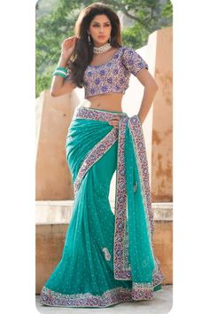 Rama green georgette saree...........lovely to have as part of trousseau