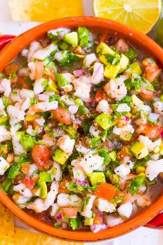 Easy Shrimp Ceviche with raw or cooked shrimp that is cool, zesty and refreshing. Dip into with tortilla chips, spread on a tostada or add to tacos.