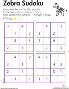 Here's a page with a set of 4x4 sudoku puzzles for challenging kids to use their logical reasoning and problem solving skills.: