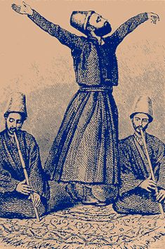 """The religious devotional activity of the """"whirling dervish"""" disciples of Rumi, showing a traditional musical accompaniment."""