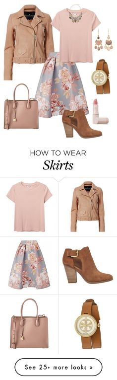 """Back To School Floral Skirt"" by denise-grimes on Polyvore featuring Designers Remix, Monki, MICHAEL Michael Kors, Tory Burch, Pippa Small and Lipstick Queen"
