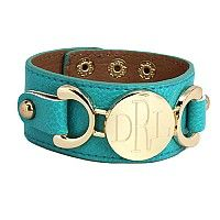 Monogrammed Leather Bracelet in Turquoise