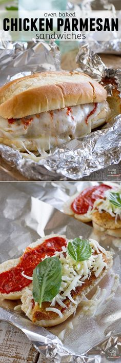 THIS LOOKS YUMMY. Chicken Parmesan goes sandwich style in these easy and portable Oven Baked Chicken Parmesan Sandwiches. Breaded chicken is topped with marinara, cheese and basil, layered on a roll, then baked in a foil packet. Chicken Parmesan Sandwich, Oven Baked Chicken Parmesan, Breaded Chicken, Roast Beef Sandwich, Soup And Sandwich, Sandwich Recipes, Lunch Recipes, I Love Food, Good Food
