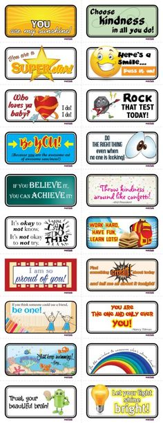 Free printables: Lunch box notes