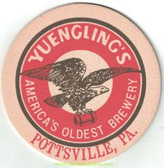 Yuengling Pottsville PA Beer Coaster Eagle Logo, Beer Coasters, Brewery