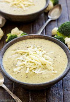 Slow Cooker Broccoli Cauliflower Cheese Soup   Loaded with broccoli, cauliflower and extra sharp cheddar cheese, this healthy slow cooker soup couldn't be easier to make! {Gluten free, vegetarian}