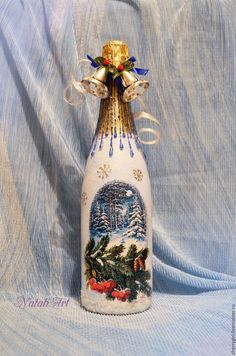 Новый год 2016 ручной работы. Ярмарка Мастеров - ручная работа. Купить Шампанское в технике декупаж. Handmade. Белый, Новый Год
