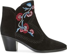LuLu Embroidery Bootie - The downtown-meets-Western vibes of our Lulu Bootie, but with a gypsy twist. These luxe suede booties come with a gorgeous floral embroidery—it's a Southwestern-y nod to goddesses and flower children everywhere. A pointed toe, leather topstitching, and a sloped, stacked heel keep things elevated.