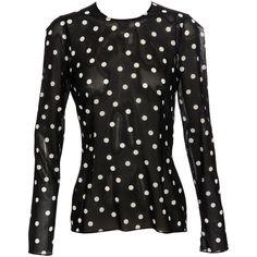 Dolce & Gabbana Polka dot blouse ($505) ❤ liked on Polyvore featuring tops, blouses, shirts, blusas, black, dolce & gabbana, black polka dot blouse, black sheer top, black shirt e sheer blouse