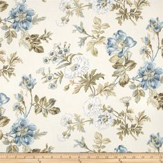 Covington Farrell Floral Blue from @fabricdotcom  This could also work somewhere. Maybe guest room? Probably not living. Could be too stuffy, though.