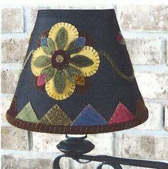 primitive wool applique patterns   Primitive Folk Art Wool Applique Pattern: SHADES OF SUMMER Lamp Shade ...