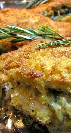 Shake and Bake Cheesy Stuffed Pork Chops ~ Thick bone in pork chops stuffed with brown rice, fresh spinach, bacon and melty cheese and then dipped in seasoned pank0 breadcrumbs and baked to perfection