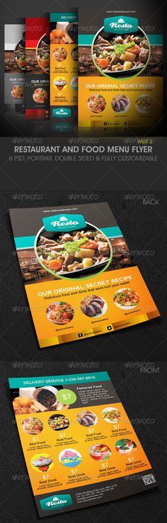 Attractive Modern Restaurant and Food Menu Flyer