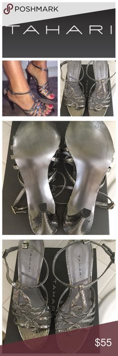 "Tahari New In Box Pewter Metallic Heels. Tahari New In Box Pewter Metallic Dino Heels, approximately 4"" heel, adjustable strap closure. Tahari Shoes Heels"