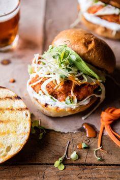 Healthier Oven Fried Sweet Tea Buffalo Chicken Sandwich | halfbakedharvest.com @hbharvest