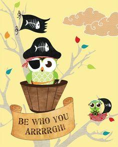 Woodland Decor, Owl Kids Art, Children's Wall Art, Animal Print Owl Poster Yellow Blue or Pink Baby Bird Art, Woodland Art