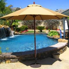 This QUICK SHIP 9' Sunbrella Wood Market Umbrella features Double Pulley rope lift system that makes opening it a breeze. Have it fast for $269.00 sale price.  Product ID : PS-SB32 #PatioUmbrella
