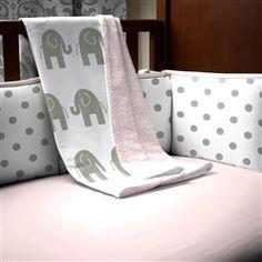 Pink and Gray Elephants Crib Blanket 250x250 image