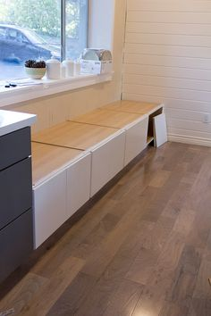 Jenna Sue: Kitchen Chronicles: Building a Window Bench Seat IKEA hack Ikea Hack Bench, Diy Bench Seat, Banquette Seating In Kitchen, Kitchen Benches, Ikea Kitchen Cabinets, Diy Kitchen Island, Cafe Seating, Floor Seating, Ideas