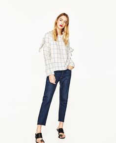CHECKED TOP WITH BOW SLEEVES-View All-TOPS-WOMAN | ZARA Thailand