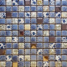 Porcelain Square Coffee and Blue Mosaic Design Snowflake Style Kitchen Backsplash Wall Tiles ADT112, Size: 1 inch, 300 x 300 x 6 mm