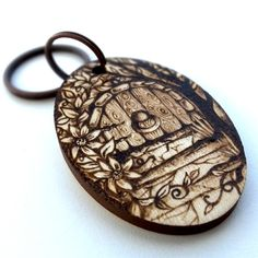 Elvish Fairy Door Pyrography Personalised Wooden Keyring £15.95