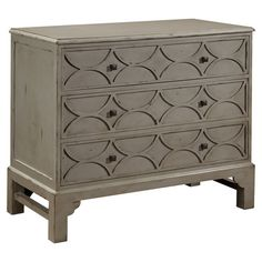 Pairing artful craftsmanship with timeless style, this wood chest showcases a taupe finish and carved fronts. Product: ChestConstruction Material: WoodColor: Taupe Features:Carved detailsThree drawers Dimensions: H x W x D Accent Furniture, Painted Furniture, Bedroom Furniture, Furniture Ideas, Gray Furniture, Furniture Refinishing, Apartment Furniture, Furniture Inspiration, Interior Inspiration