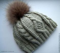 Шапка - серый,шапка,шапка вязаная,шапка зимняя,шапка с помпоном,шерсть