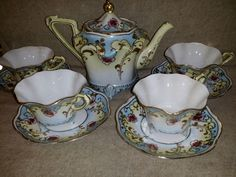 Antique Nippon Noritake Japanese Hand Painted Moriage Tea Set Pot 4 cups saucers #UnmarkedNippon