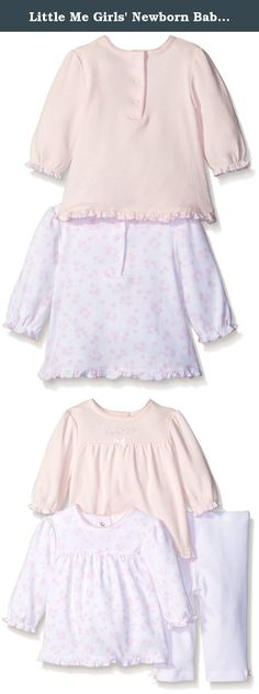 Little Me Girls' Newborn Babysweet Lovebirds 3 Piece Cotton Tunic and Leggings Set, White/Pink, 6 Months. A completely precious set for her, this newborn baby-girls' collection includes snuggly-soft slip-on leggings and two coordinating tunic tops in a charming lovebird motif.