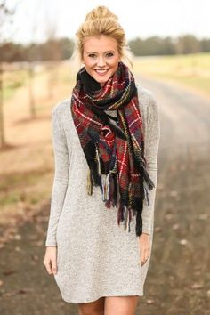 Fabulous Fall Scarf Well Combined With Grey or Neutral Long Sleeve Dress: