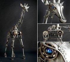 Andrew Chase's Kinetic animal sculptures made from recycled materials Animal Sculptures, Sculpture Art, Metal Sculptures, Recycled Art, Recycled Materials, Kinetic Art, Scrap Metal Art, Metal Artwork, Photoshop