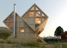 Plan Bureau imagines a twin-peaked wooden house in the mountains.
