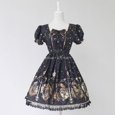 Customized Hot Stamping Polyester Short Sleeves Lolita Dress 2 Colors