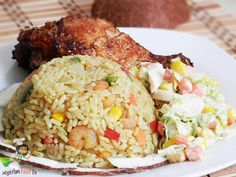 Coconut Fried Rice Coconut fried rice is another delicious variation of the basic fried rice. It is quite easy to prepare and always a welcomed change from the usual Nigerian fried rice.Although the difference isn't… Coconut Fried Rice, Nigerian Fried Rice, Nigeria Food, West African Food, Rice Dishes, Food Blogs, International Recipes, Soul Food, Food Inspiration