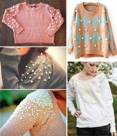 A aplicação de tecidos em formatos variados (como na blusa com o gatinho, ou com o coração branco, ou ainda na de flores) fica uma graça! O...