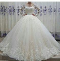 Long Sleeve Wedding Gown Vestido De Noiva Sexy Wedding Dress,Elegant Wedding Dresses,Lace Bridal Dress  by fancygirldress, $265.00 USD