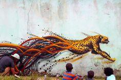 Magical Sonny in Mdumbi Village, Transkei, South Africa Best Street Art, Amazing Street Art, Amazing Art, Graffiti Painting, Street Painting, Mural Painting, Illusion Art, Art Graphique, Street Art Graffiti