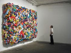Dan Steinhilber's brand of installation art incorporates common items in uncommon ways