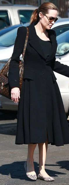 Who made  Angelina Jolie's black coat, snake ballet flat shoes, and brown handbag that she wore in Los Angeles on February 14, 2013?