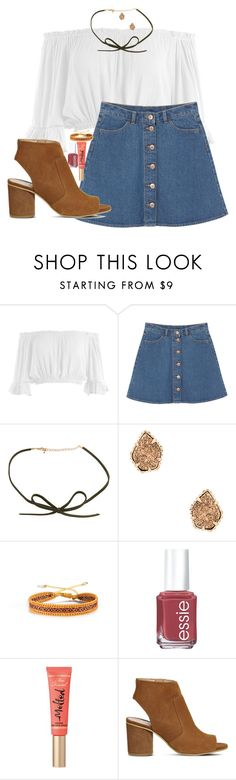 """""""Currently dying my hair lol"""" by ygkwhite ❤ liked on Polyvore featuring Sans Souci, Monki, Kendra Scott, Mishky, Essie, Too Faced Cosmetics and Office"""
