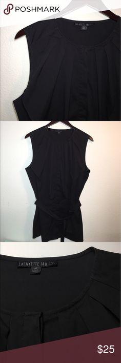Lafayette 148 Black Sleeveless Top ✔️Round Neck with Ruffle ✔️Covered Button Down ✔️Cotton/Nylon/Spandex Blend ✔️Excellent Condition ✔️Waist Tie Lafayette 148 New York Tops Button Down Shirts