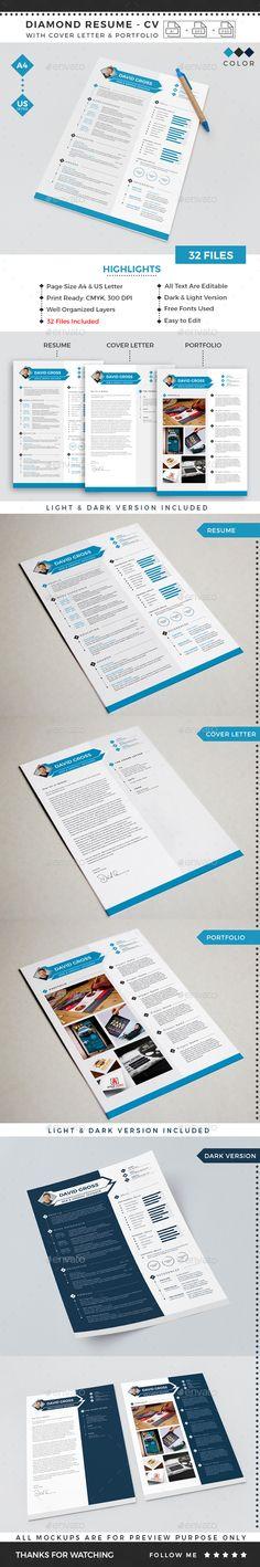 Diamond Resume CV Template - Resumes #Stationery