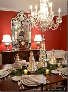 #1 A Mercury-Glass Christmas Tree Tablescape Resources: Chargers: Horchow Dinnerware: Noritake, Pattern is Platinum Stemware: Lenox, Fair Lady Flatware: Towle, King Richard Napkins: Neiman Marcus (look for their free monogramming and free shipping sales) Mercury Trees: Pottery Barn Mercury Votive Holders: Pottery Barn Reindeer Napkin Rings: Dillard's