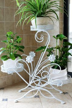 Cheap shelf clocks, Buy Quality flower girl dresses online directly from China flowers for card making Suppliers: 79 european balcony fower pots shelf with wheel and brake garden flower stands holder pergolas metal iron flower Balcony Flowers, Indoor Flowers, Hanging Orchid, Hanging Plants, House Plants Decor, Plant Decor, Indoor Bamboo, Discount Flowers, Iron Balcony
